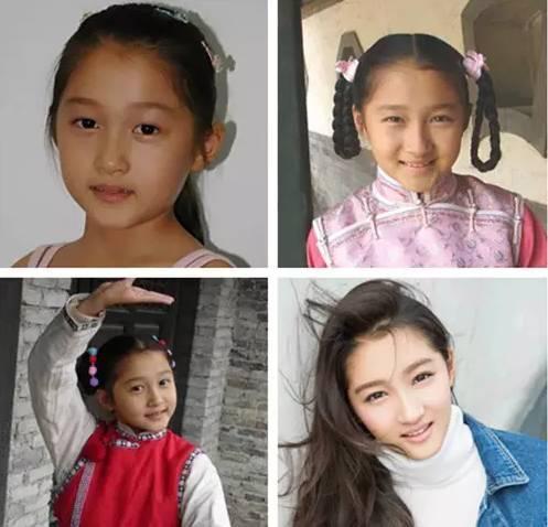 关晓彤 小时候的小圆脸变成了锥子脸,话说现在比小时候白好多 鞠婧祎