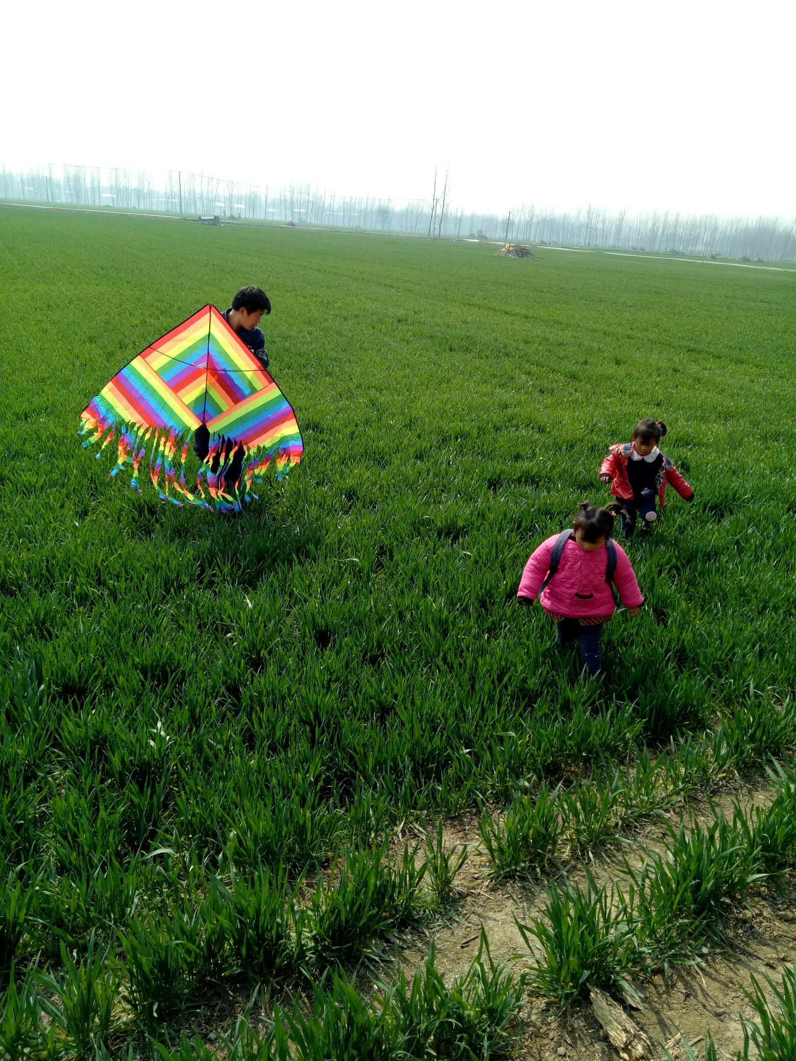 爸爸陪着女儿们村野里放风筝春天的气息