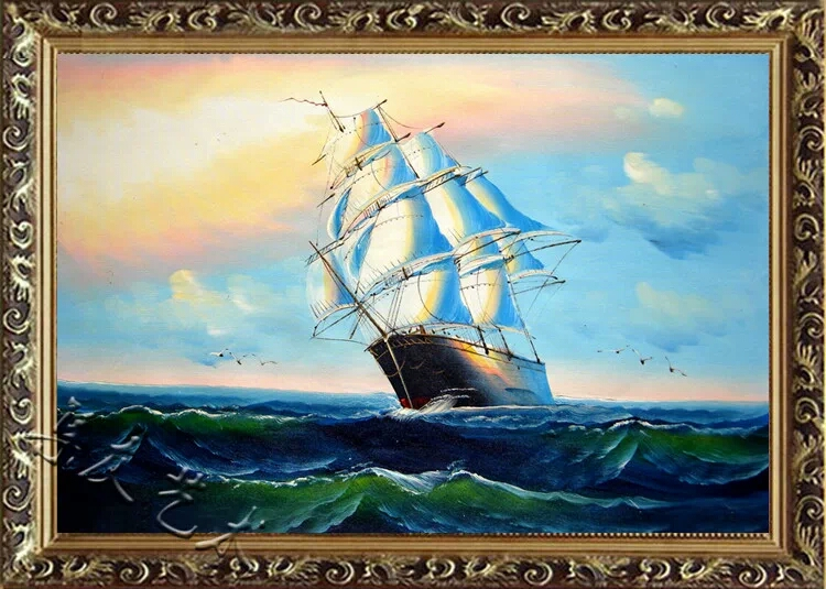 手绘海景帆船油画玄关挂画