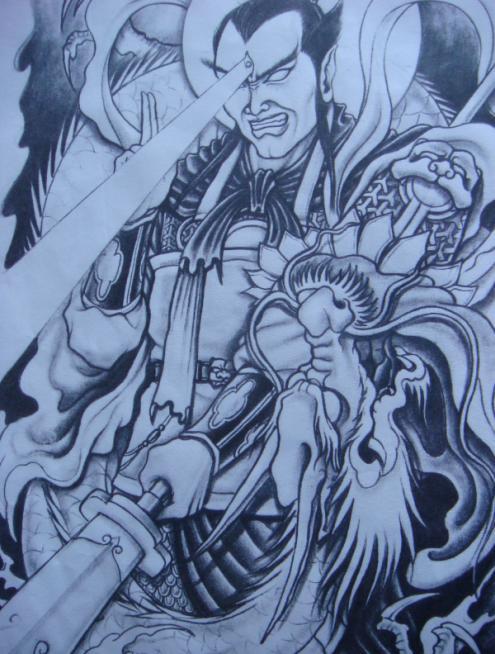 杨戬纹身手稿素材