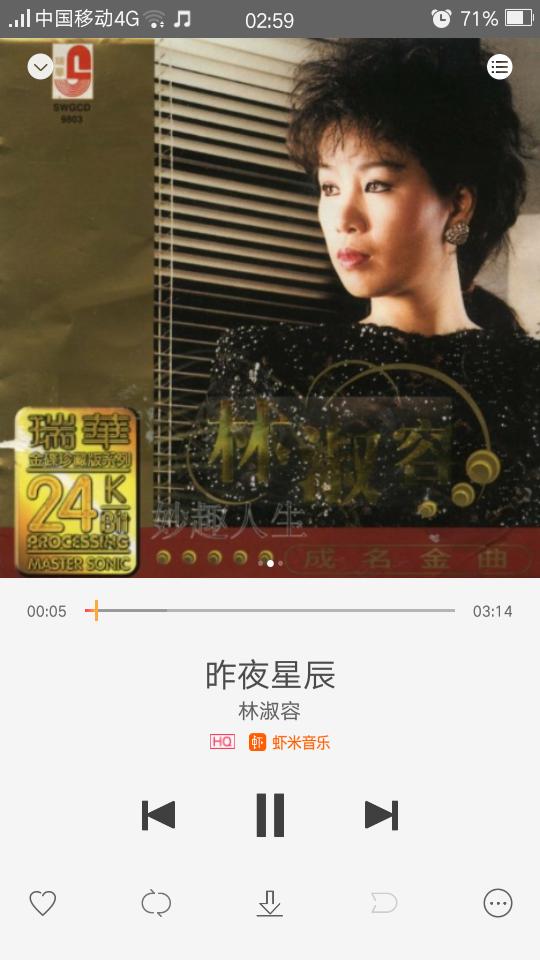 分享林淑容的歌曲《昨夜星辰》来自oppo音乐(@c.