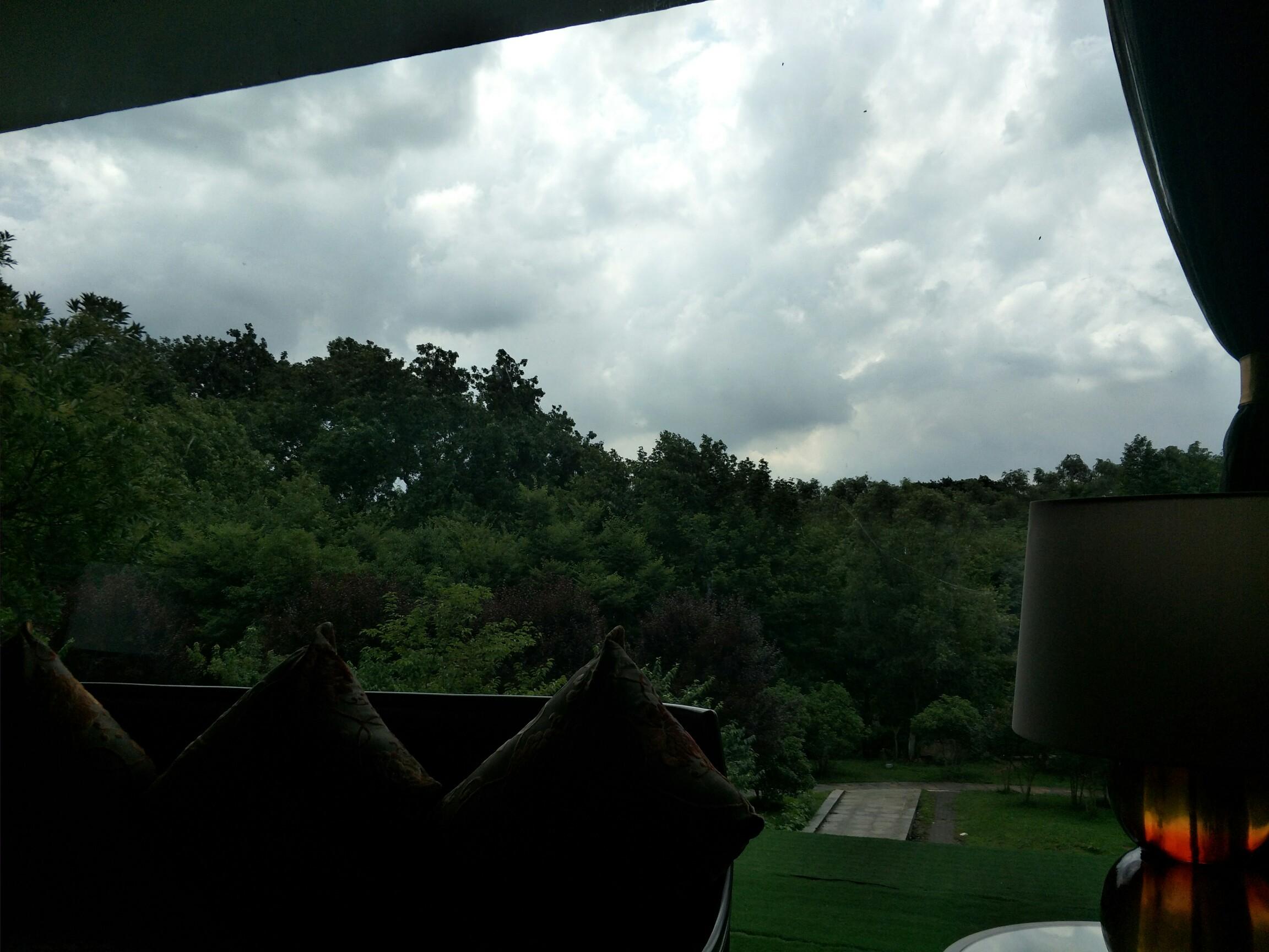 绿树蓝天白云