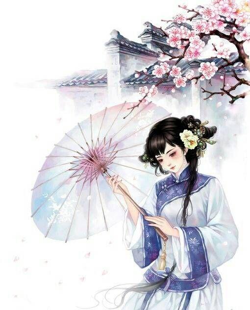 唯美古风美人撑伞图!