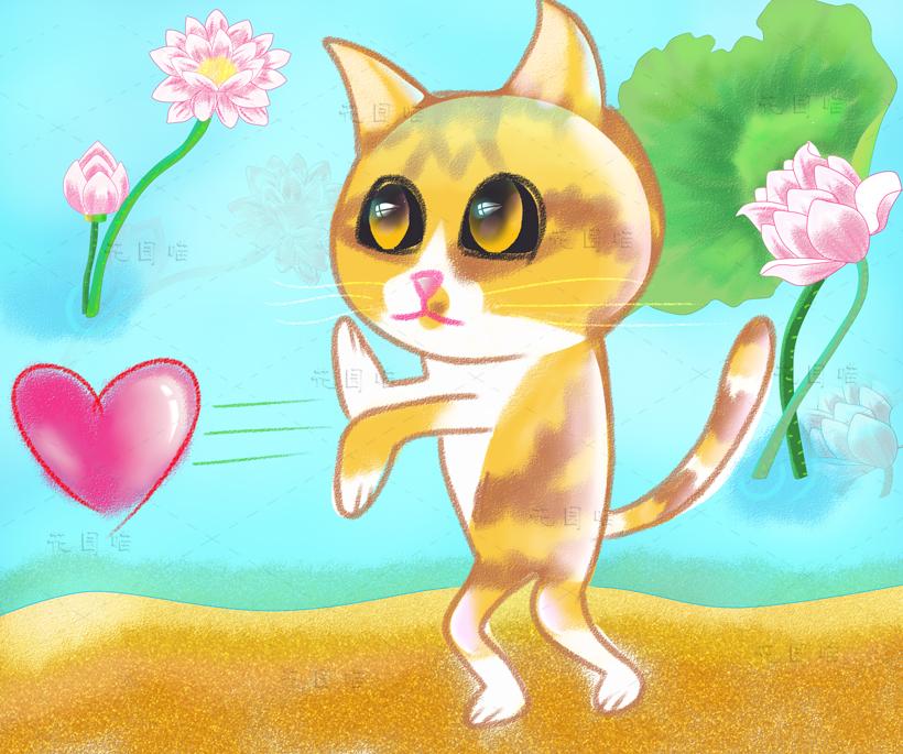 猫咪手绘(卡通q版插画)