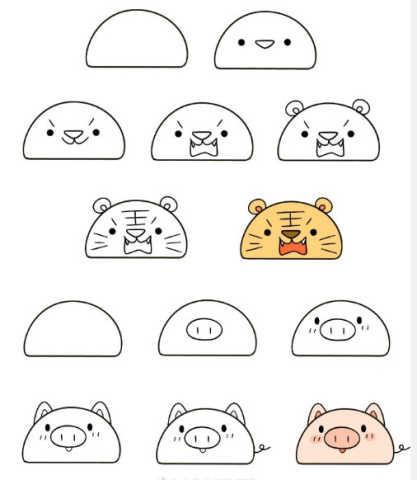 一个半圆能画出许多动物!