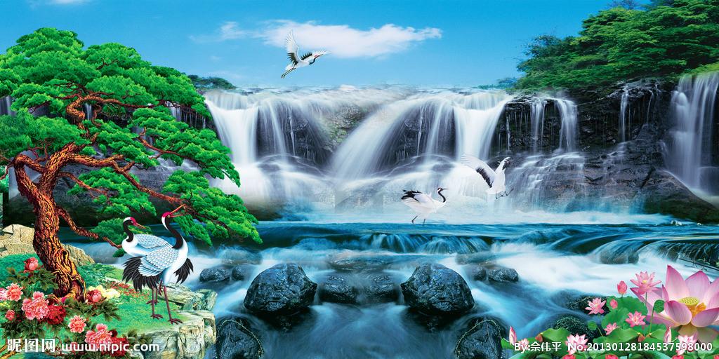 壁纸 风景 国画 旅游 瀑布 山水 桌面 1024_512